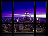 Window View  Special Series  Skyline Manhattan  Purple Night  New York  United States  USA