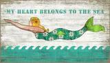 Diving Mermaid Wood Sign