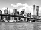 Skyline of NYC with One World Trade Center and East River  Manhattan and Brooklyn Bridge