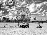 Vintage Beach  Black and White Photography  Wonder Wheel  Coney Island  Brooklyn  New York  US