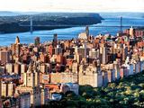 George Washington Bridge at Sunset from Central Park and Hudson River  Manhattan  New York
