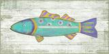 Funky Fish 2 Blue Wood Sign