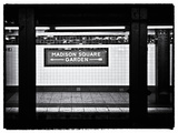 Subway Sign  Black and White Photography  Madison Square Garden  Manhattan  New York  United States