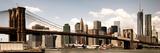 Vintage Panoramic  Skyline of NYC  Manhattan and Brooklyn Bridge  One World Trade Center  US