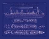 Titanic Blueprint I Papier Photo par The Vintage Collection