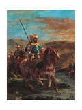 Moroccan Horsemen Crossing a Ford