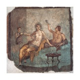 Banquet scene  Roman wall painting  from Herculaneum  62-79 AD Archaeological Museum  Naples
