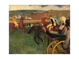 Racecourse  Amateur Jockeys Near a Carriage