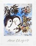 Les amoureux Reproduction d'art par Marc Chagall