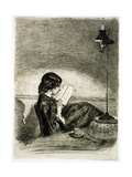Reading by Lamplight  1858