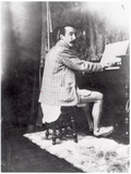Paul Gauguin (1848-1903) Playing the Harmonium in Mucha's Studio  c1895