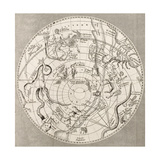 Antique Illustration Of Celestial Planisphere (Southern Hemisphere) With Constellations