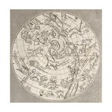 Antique Illustration Of Celestial Planisphere (Northern Hemisphere) With Constellations