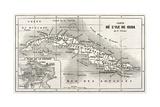 Cuba Old Map With Havana Insert Plan Reproduction d'art par Marzolino