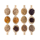 Different Type Of Seeds On Wooden Spoon