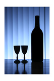 Wine Bottle With Two Glasses  Dramatic Light  Copy-Space For Text
