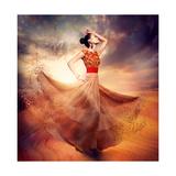 Dancing Fashion Woman Wearing Blowing Long Chiffon Dress