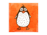 Cartoon Penguin. Cute Hand Drawn, Vintage Paper Texture Reproduction d'art par Ozerina Anna