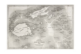 Old Map Of Fiji Islands Reproduction d'art par Marzolino