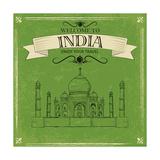 Taj Mahal Of India For Retro Travel Poster