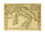 Map Of Italy Framed By Territorial Crests. May Be Dated To The Beginning Of Xviii Sec Reproduction d'art par Marzolino