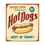 Vintage Hot Dogs Metal Sign