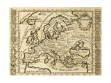 Map Of Europe Framed By National Crests May Be Dated To The Beginning Of Xviii Sec