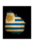 Outline Map Of Uruguay With Grunge Flag Insert Isolated On Black