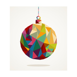 Merry Christmas Circle Bauble With Triangle Composition Reproduction d'art par Cienpies