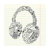 Music Doodles In The Shape Of A Earphones Reproduction d'art par Alisa Foytik