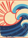 Sea Waves Poster.Grunge Illustration Of Sea Landscape Reproduction d'art par GeraKTV