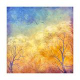 Digital Oil Painting Autumn Trees  Flying Birds