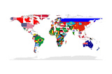 Map Of World With Flags In Relevant Countries, Isolated On White Background Reproduction d'art par Speedfighter