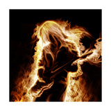 Musician With An Electronic Guitar Enveloped In Flames On A Black Background