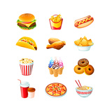 Colorful Icons With Fast Food Meals Isolated Reproduction d'art par Sahuad