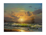 Sailboat Against A Background Of Sea Sunset  Oil Painting
