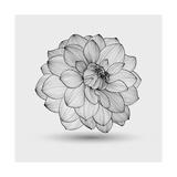 Abstract Floral Flower Dahlia Reproduction d'art par Helga Pataki