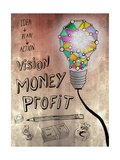 Picture Of Huge Mosaic Light Bulb On Brown Wall Next To Written Down Business Plan