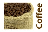 Roasted Coffee Beans In A Natural Bag And Sample Text