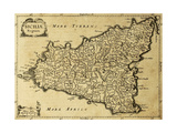 Sicily Old Map  May Be Approximately Dated To The Xviii Sec