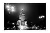 Warsaw  Poland Downtown Skyline At Night In Black And White