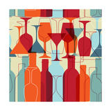 Seamless Background With Wine Bottles And Glasses Reproduction d'art par Mcherevan