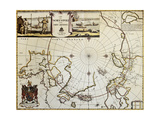 North Pole And Adjoining Lands Old Map Created By Moses Pitt  Published In Oxford  1680