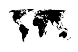 World Map - Black On White