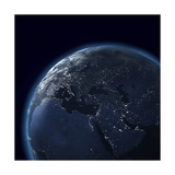 Night Globe With City Lights, Detailed Map Of Asia, Europe, Africa, Arabia Reproduction d'art par Mike_Kiev