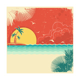 Vintage Nature Tropical Seascape Background With Island And Palms Decoration On Old Paper Poster