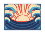 Sea PosterGrunge Illustration Of Sea Landscape