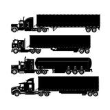 Detailed Trucks Silhouettes Set