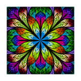 Multicolor Beautiful Fractal Flower Computer Generated Graphics