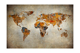 Grunge Map Of The World Reproduction d'art par Javarman